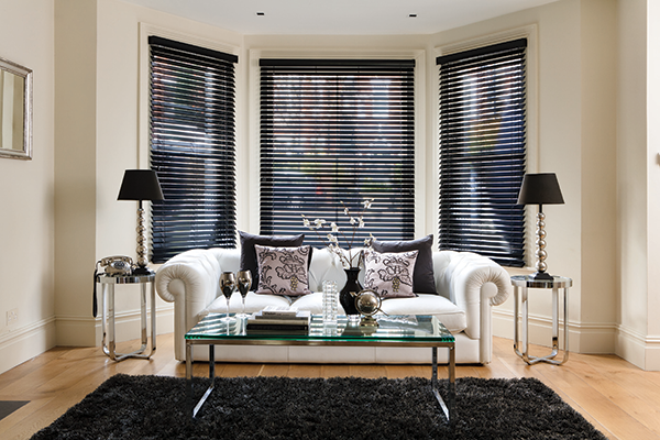 monochrome decor living room with black blinds