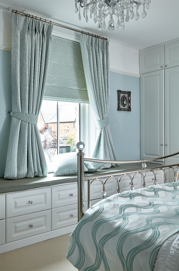 blue princess style curtains with inner blind
