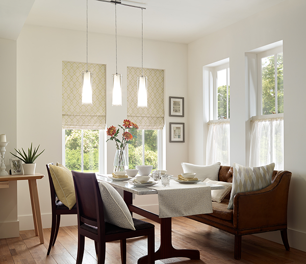 pretty dining room with blinds