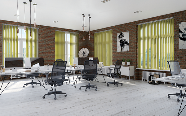 office with green blinds