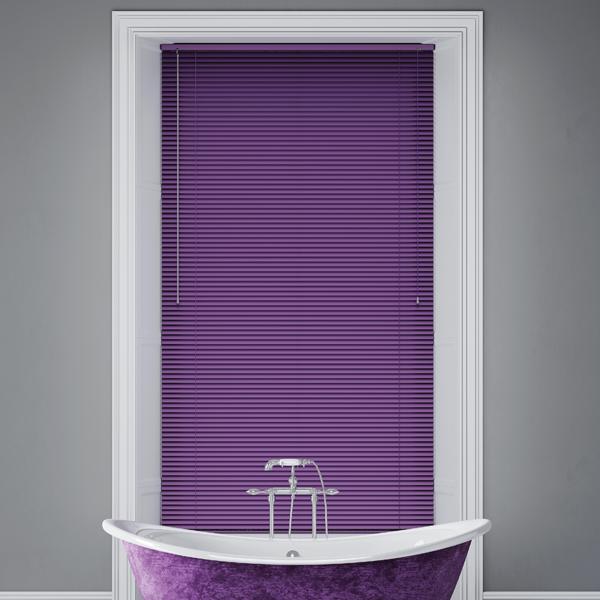 purple blinds and purple bathtub