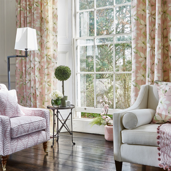 flowery pink curtains