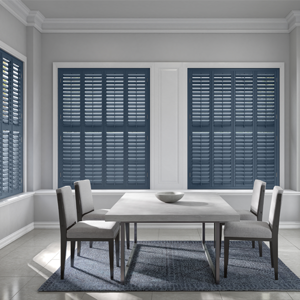 blue shutters and grey dining table